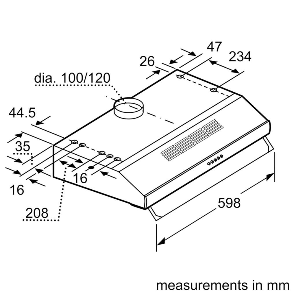 Kích thước máy hút mùi Bosch DHU635HB