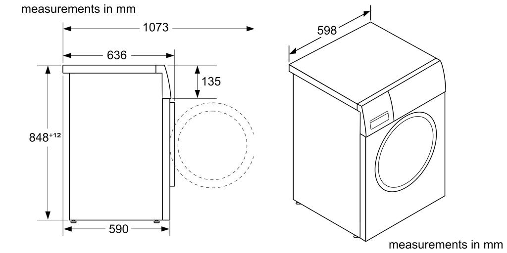 Kích thước máy giặt Bosch WAX32M40SG