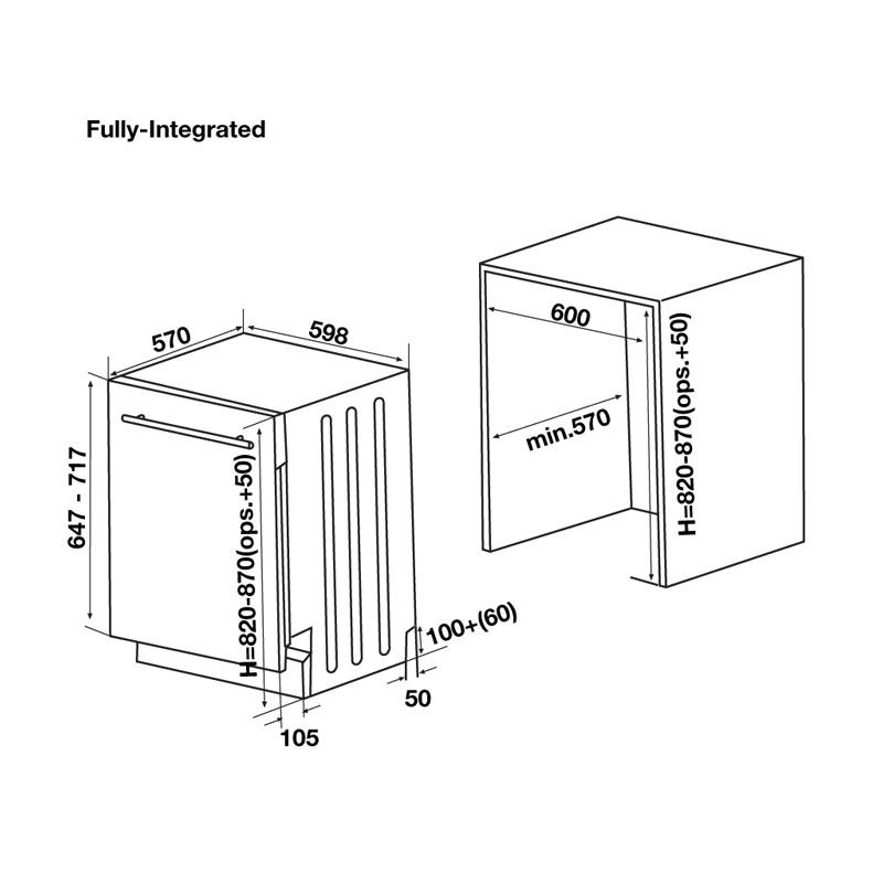 Kích thước Máy rửa bát Hafele HDW-FI60D 533.23.320