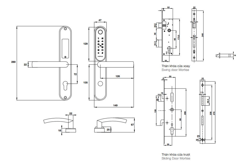 Kích thước khóa điện tử Hafele EL6500-TCS