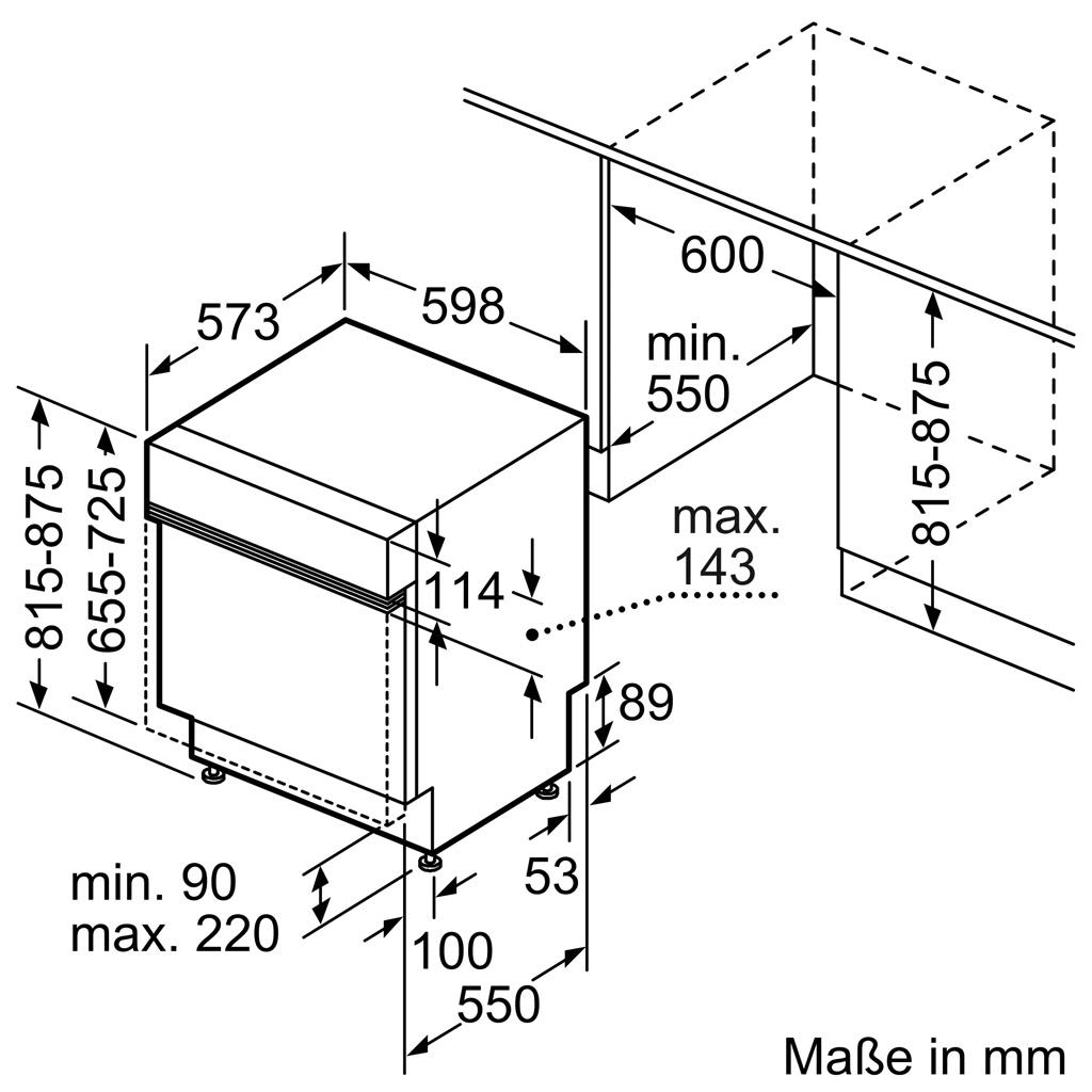 Kích thước Máy rửa bát Bosch SMI8YCS01E
