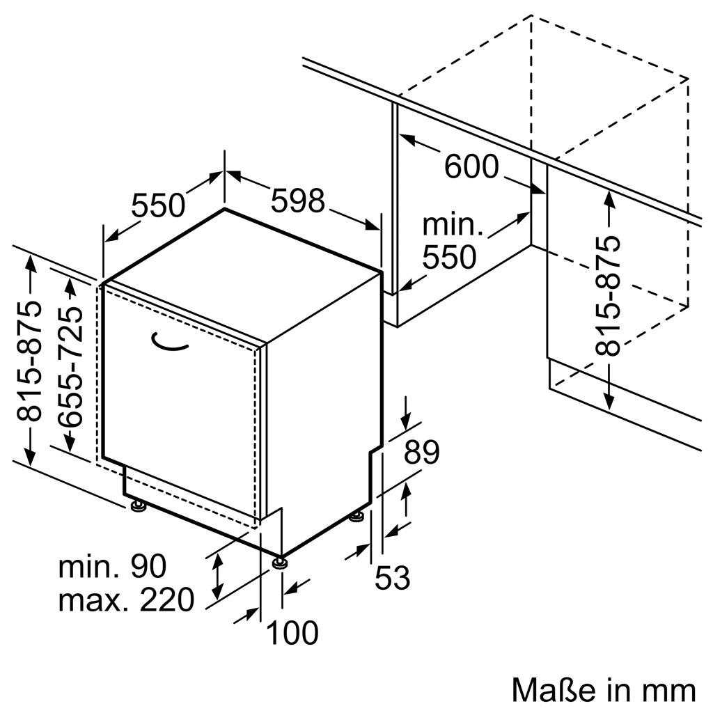 Kích thước Máy rửa bát Bosch SMV8YCX03E